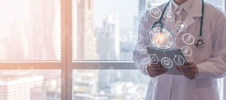 Medical tech science, innovative iot global healthcare ai technology with doctor on telehealth, telemedicine service analyzing online patient health record information data in hospital lab background Zdjęcie Seryjne