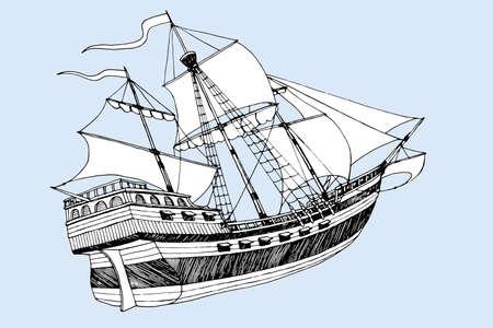 marine ship Caravel three masts with sails vector