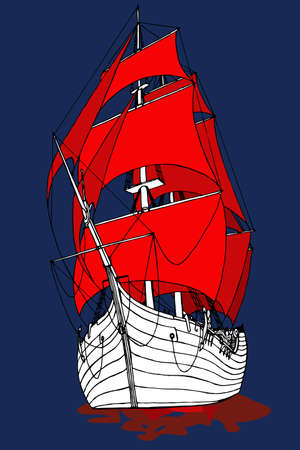 marine ship with Scarlet sails frigate fabulous vector