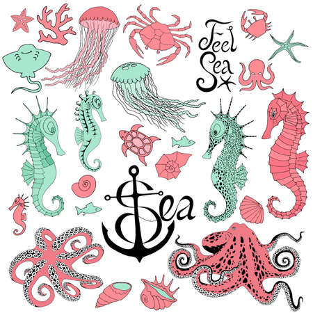 seahorses with jellyfish, octopus, crab and other Illustration