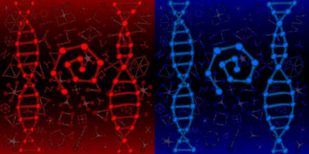 Chemistry or biology DNA genetic background template red and blue vector