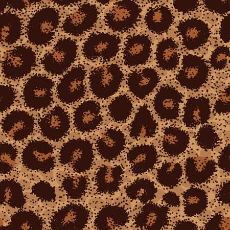 Seamless leopard, ocelot or wild cat fur pattern print Illustration