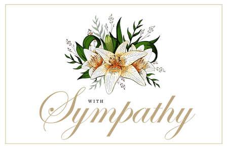 Biglietto di condoglianze con bouquet di giglio floreale e scritte Vettoriali