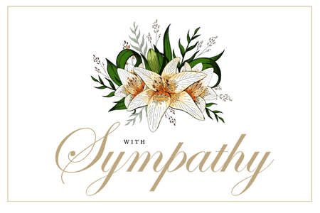 Condolencias tarjeta de condolencia ramo de flores de lirio y letras Ilustración de vector