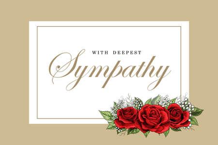 Biglietto di condoglianze con bouquet di rose rosse floreali e scritte