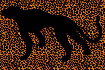 Silhouette leopard, ocelot or wild cat on repeated fur leather print