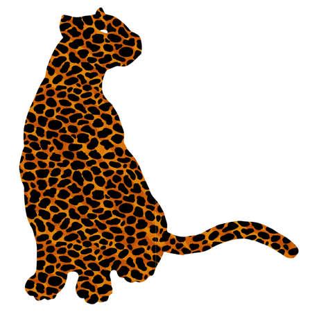 Drawn jaguar, leopard, wild cat, panther coloured silhouette