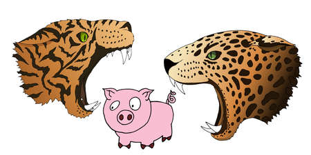 Vector hungry leopard and tiger want to eat a small piggy