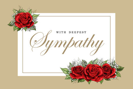 Condolences sympathy card floral red roses bouquet and lettering