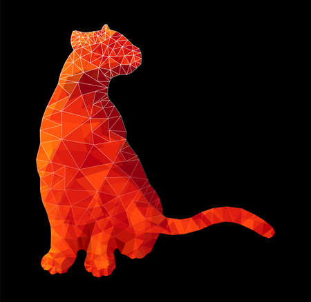 Poly animal cat sitting in red rubypolygonal abstract vector illustration Stock Photo