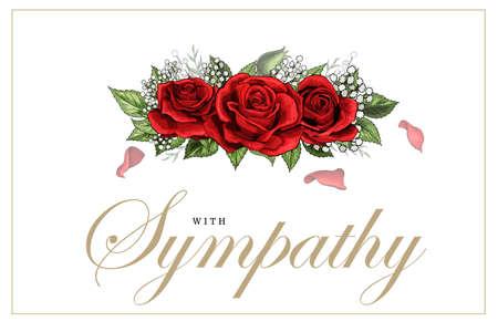Beileid Beileidskarte Blumenstrauß roter Rosen und Schriftzug