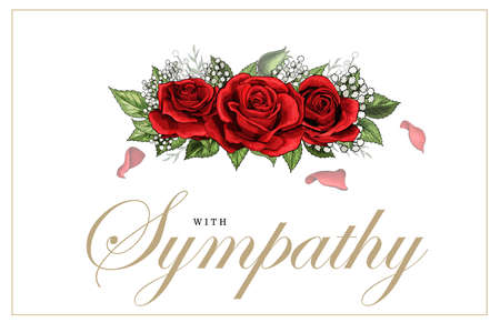 Condolences sympathy card floral red roses bouquet and lettering Stock Illustratie