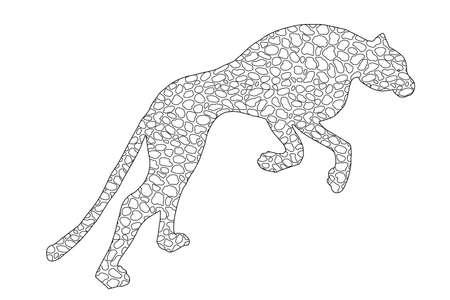 Drawn jaguar, leopard, wild cat, panther doodle outline silhouette