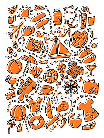Line art vector hand drawn skew orange colored doodle cartoon set of travel planning theme items, objects and symbols isolated. Tourist vacation journey voyage background