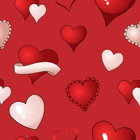 Happy Valentines day red, scarlet and pink hearts vector seamless pattern background textile paint. Repetitive fabric swatch. Wrapping paper modern stylish texture