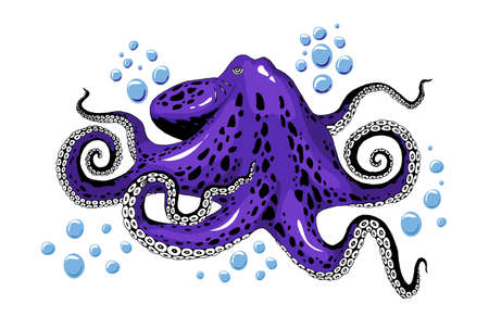Cartoon violet purple octopus with bubbles isolated on white background. Inhabitants of the salt seas, marines and oceans. Seafood detail colored clip-art vector close-up illustration.