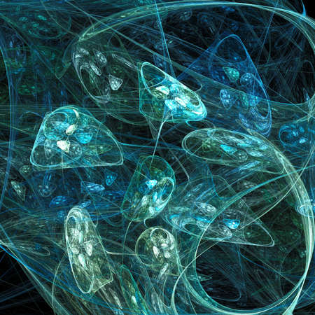 Abstract glowing mushrooms fractal futuristic illustration background Stock Photo