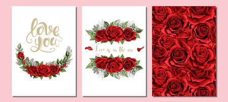 Floral valentines day, wedding invite, invtation three cards set design. Scarlet blush red rose flowers and green leaves with golden lettering templates