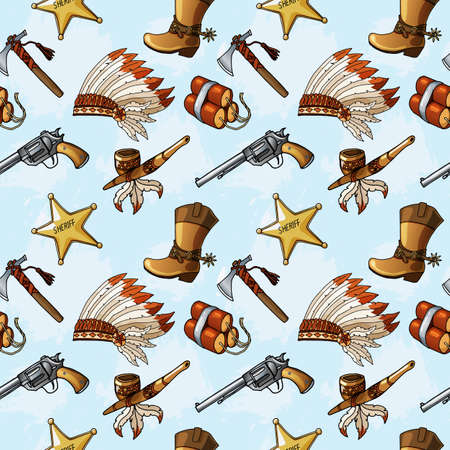 Seamless pattern with hand drawn colored Wild West elements.