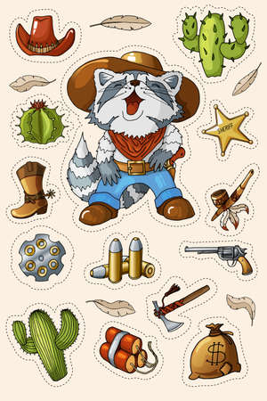 Western wild west art stickers icons set. Funny cartoon cowboy raccoon character, gun, ammo, sheriff star, cactuses, tomahawk, dynamite and many other items. Isolated and ready to print illustration. Иллюстрация