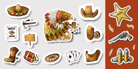 Western Wild West Art Stickers Icons Set  Funny American