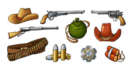 Colored vector stickers illustrations of wild west weapons, guns, ammunition and items. Realistic colored with shadows western vintage pictures isolated on white background.