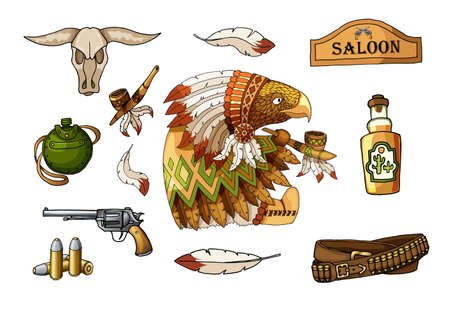 Western wild west art stickers icons set. Funny cartoon american eagle traditional indian national costume character, gun, tequila, bull skull, flask, feathers and other items. Isolated illustration