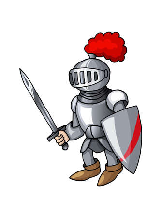 Cartoon medieval knight with shield and sword, isolated on white background Illusztráció