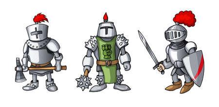 Cartoon colored three medieval knights prepering for Knight Tournament Vektoros illusztráció
