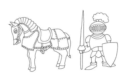 Coloring page of cartoon medieval knight with lance and horse prepering to Knight Tournament. Coloring book design for kids and children. Ink and pen isolated on white background