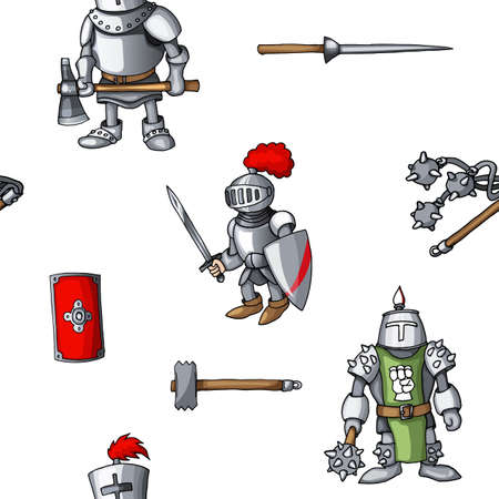 Medieval hand drawn seamless pattern armored knights warrior weapons background