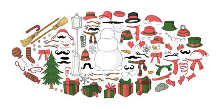 Set for creation cute cartoon snowman character. Christmas and new year set for creating snowman. Eyes, emotions, hats, scarves, mittens. Cute winter clothes for snowman. Vector illustration, template Vectores