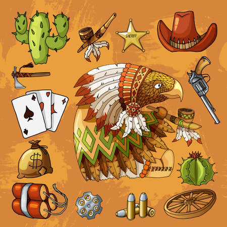 Cartoon character american wisdom eagle smoking pipe of peace in traditional indian national costume dress with set of classic western items. Vector orange brown t-shirt print design