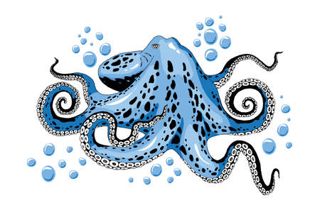 Cartoon skye blue octopus with bubbles isolated on white background. Inhabitants of the salt seas, marines and oceans. Seafood detail colored clip-art vector close-up illustration. Vettoriali
