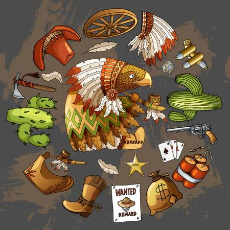 Cartoon character american wisdom eagle smoking pipe of peace in traditional indian national costume dress with set of classic western items. Vector gray t-shirt print design on round form