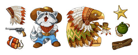 Cartoon colored items characters cowboy and indian in national costume