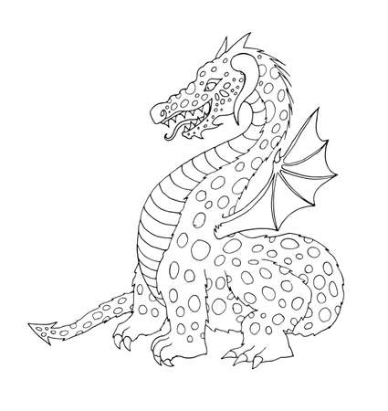 Vector flat cartoon funny dragon with horns and wings sticking out tongue. Isolated illustration on a white background. Fairy mysterious cute creature character for coloring book design