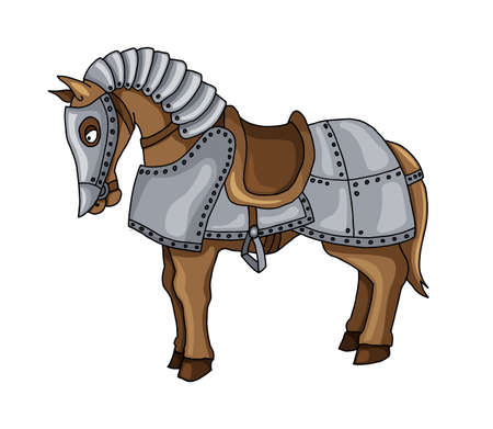 Cartoon character of war horse in armour suit vector illustration isolated on white background