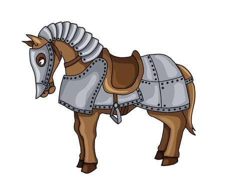 Cartoon-Figur des Kriegspferdes in Rüstung Anzug-Vektor-Illustration isoliert auf weißem Hintergrund