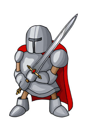 Cartoon medieval confident knight with broad sword, isolated on white background