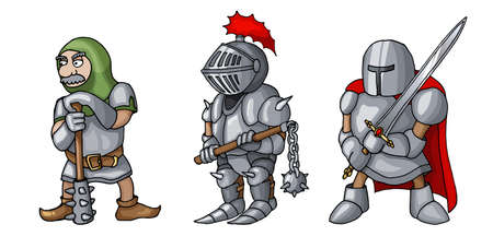 Cartoon colored three medieval knights prepering for Knight Tournament