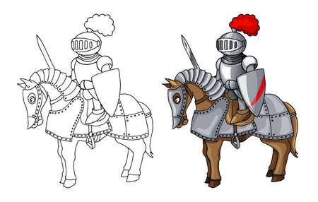 Knights Suit Body Protection Armor with Sword and Shield cartoon illustration Vektorgrafik
