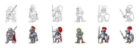 Set of European like medieval knights characters prepering for Knight Tournament isolated on white background. Cheerful warriors cartoon style coloring book collection vector illustration