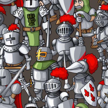 Formation de chevaliers blindés médiévaux dessin animé modèle sans couture dessiné à la main. Guerriers, paladins, croisés, gardes avec d'anciennes armes froides Vecteurs