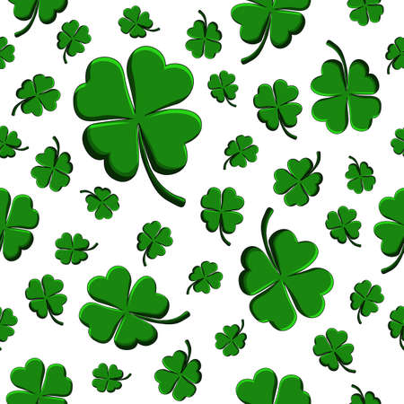 Green clover leaf decorative on a white background. Doodle St Patricks Day Seamless Pattern. Hand drawn vector sign luck. Funny festive card for the holiday. Elegant clip-art background.