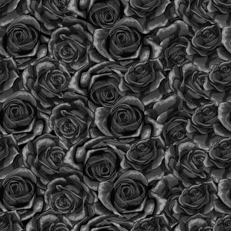Beautiful black and white monochrome seamless pattern in roses with contours. Hand-drawn contour lines and strokes. Perfect for background greeting cards and invitations of the wedding or condolence Vector Illustration