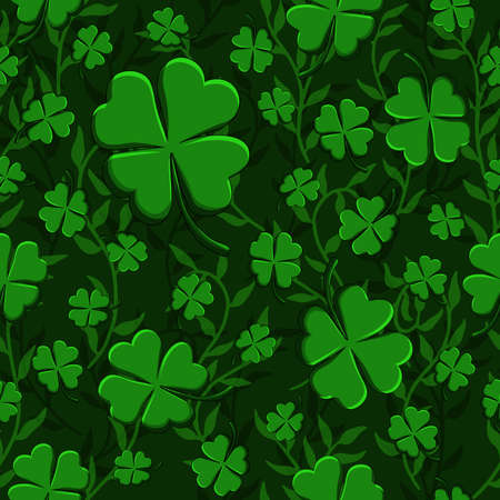 St Patricks Day Green Clovers weaving with lianas seamless pattern background. Vector illustration for lucky spring design with shamrock. Ireland symbol Irish decor for web site or wallpapers Иллюстрация