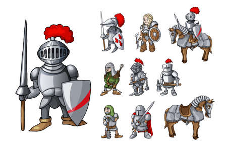 Set of medieval knight characters standing in different poses isolated on white Ilustração