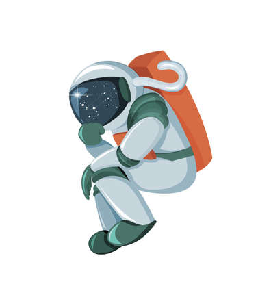 Cartoon astronaut thinking or searching solution isolated on white background Archivio Fotografico - 123354582