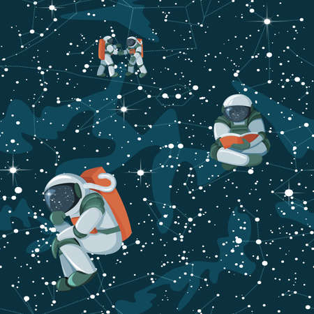Cute funny cosmonaut astronaut spaceman characters exploring outer space on Astronnomic Art Space night sky background. Seamless cartoon pattern for wallpaper, textile, prints. Flat line design. Illustration